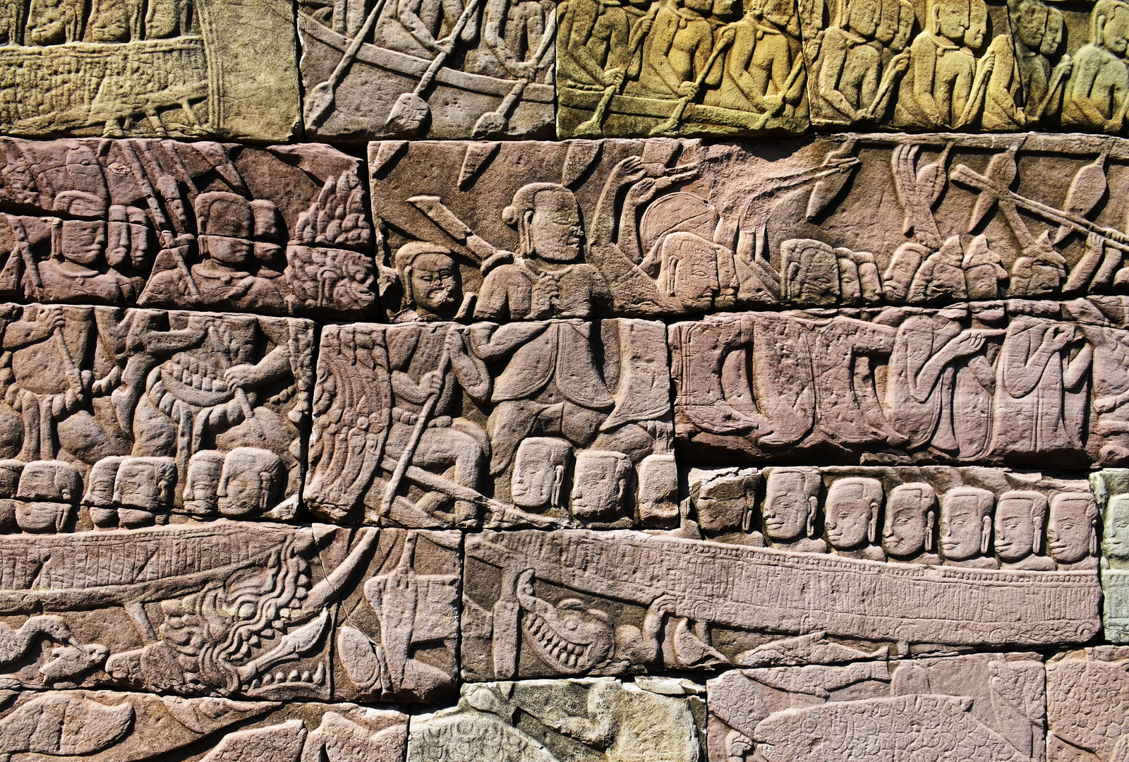 Bas reliefs at Banteay Chhmar depicting a naval battle on the Tonle Sap against the Chams