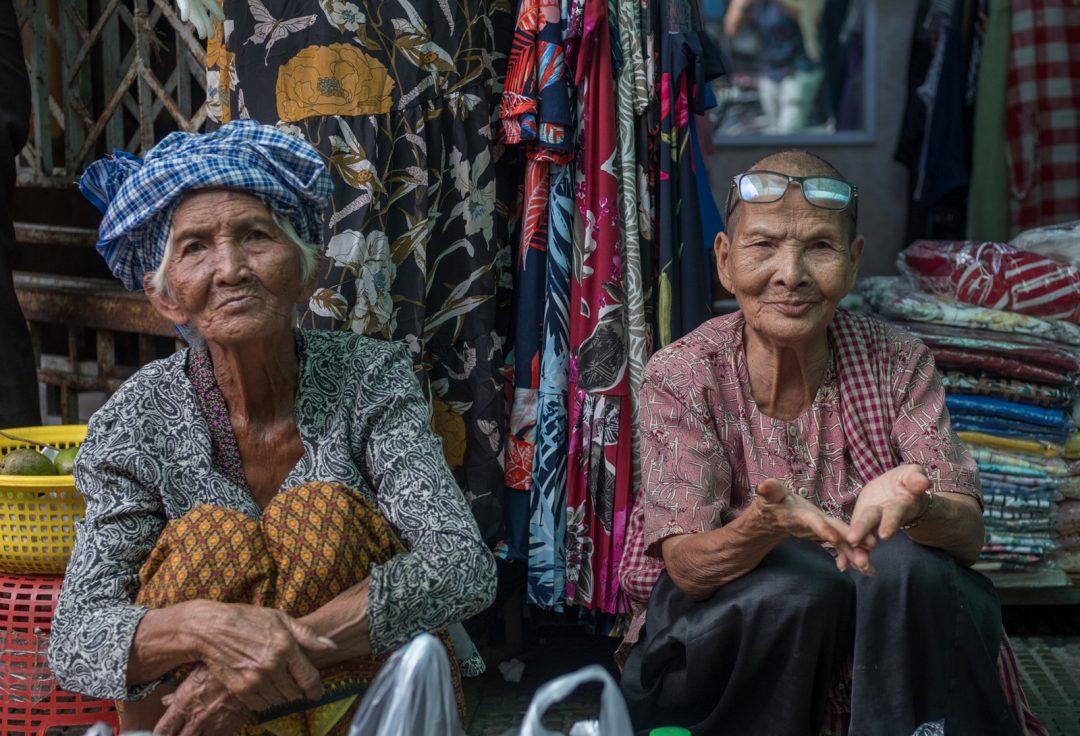 Elderly market vendors - Cambodia Street Photography