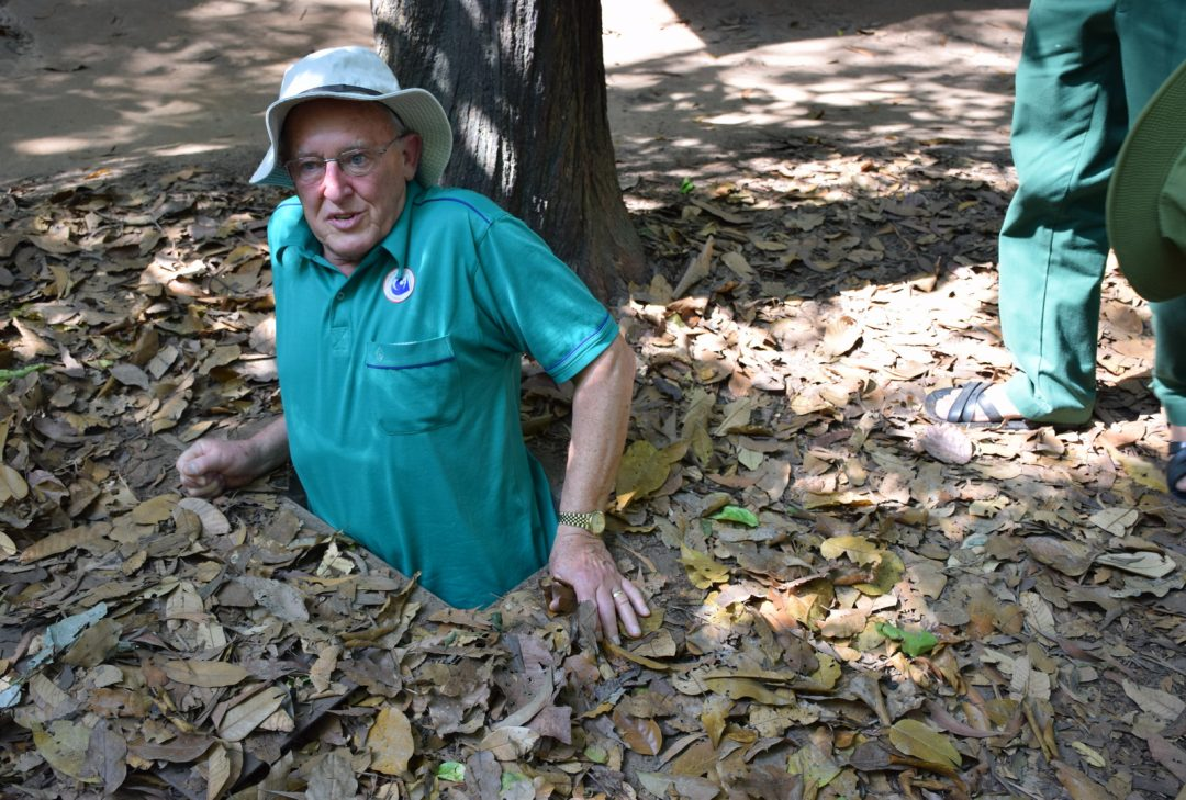 Vietnam, David getting stuck at Cu Chi