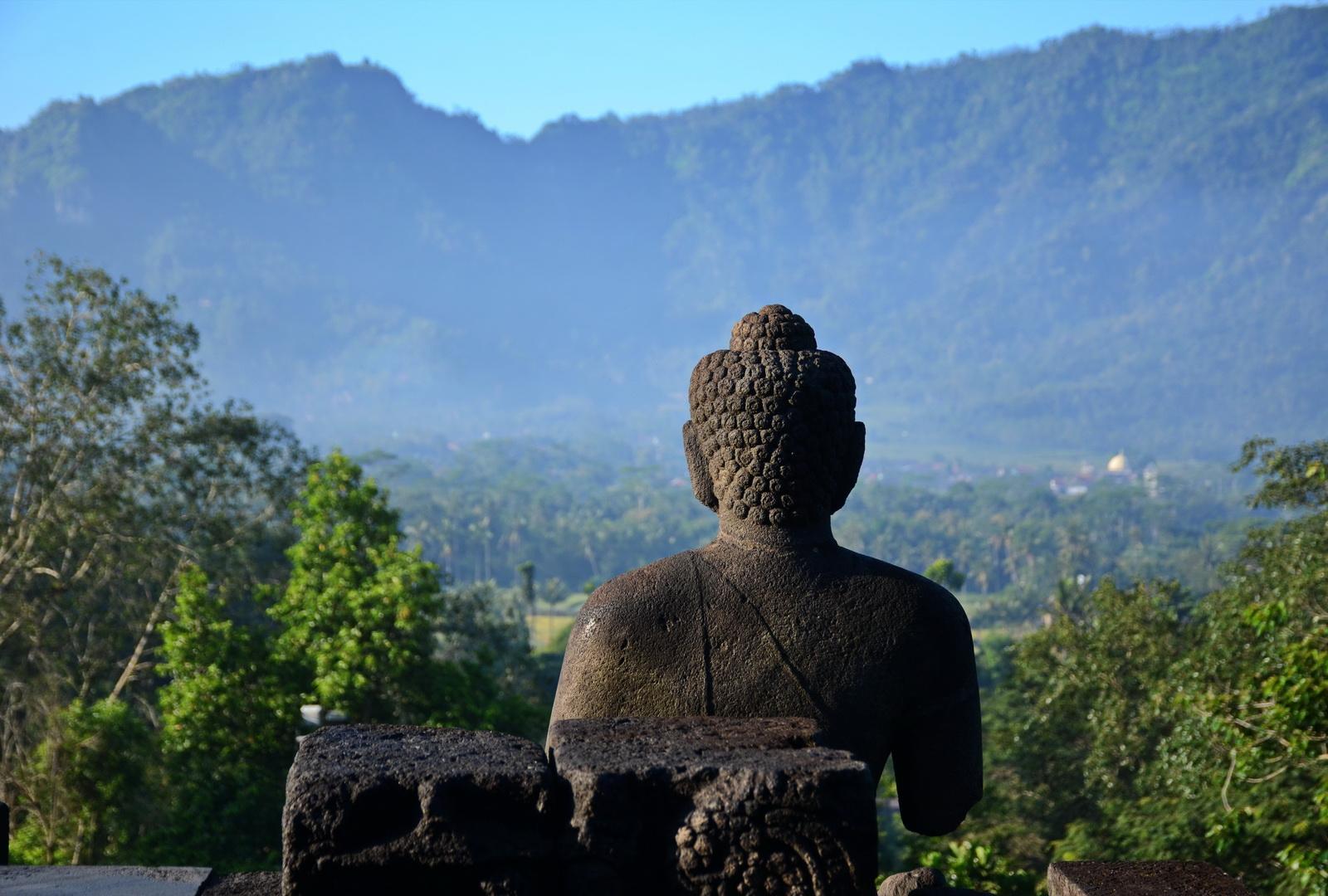 Indonesia, Buddha image at Borobudur