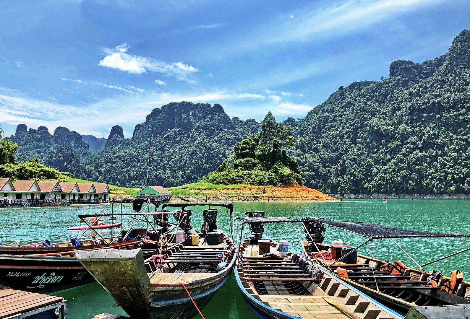 Thailand, boats on Cheow Lan Lake