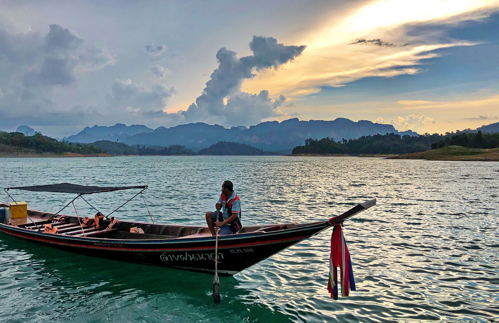 Thailand, tropical storm apporaching on Cheow Lan lake