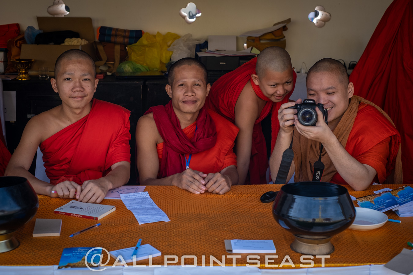 Laos. Young monks trying out their photography skills