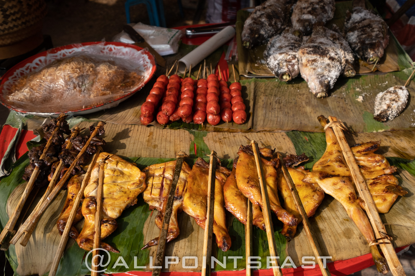 Laos, night market barbeque by Jeff Perigois