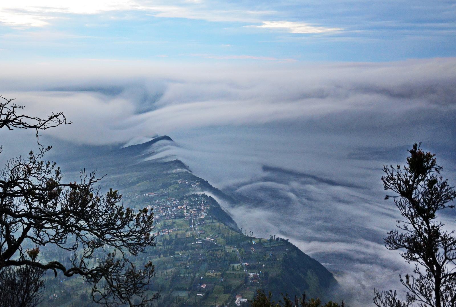 Bromo. Mist in the caldera