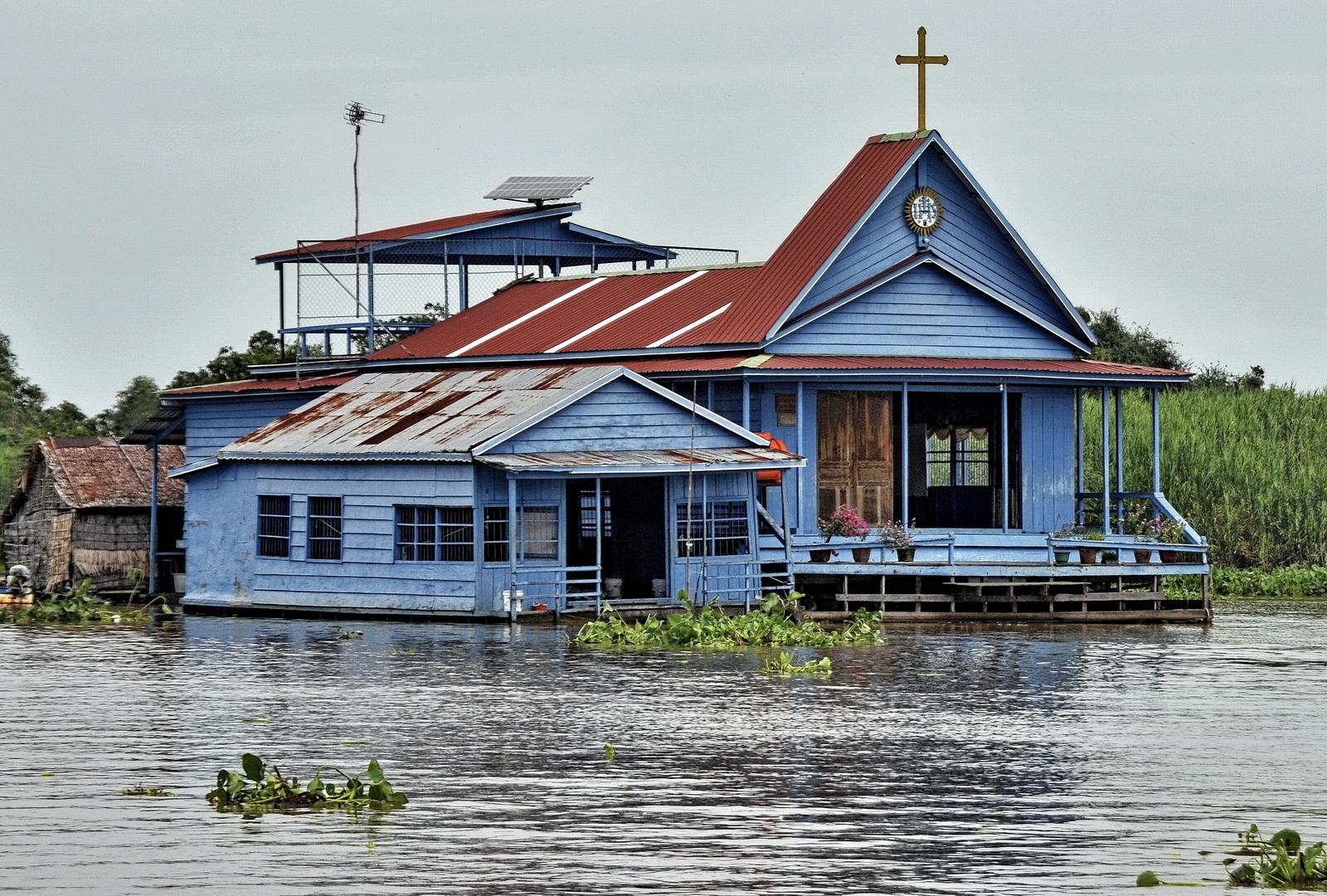 St Josephs Church, Prek Toal on The Sangkar River, Cambodia