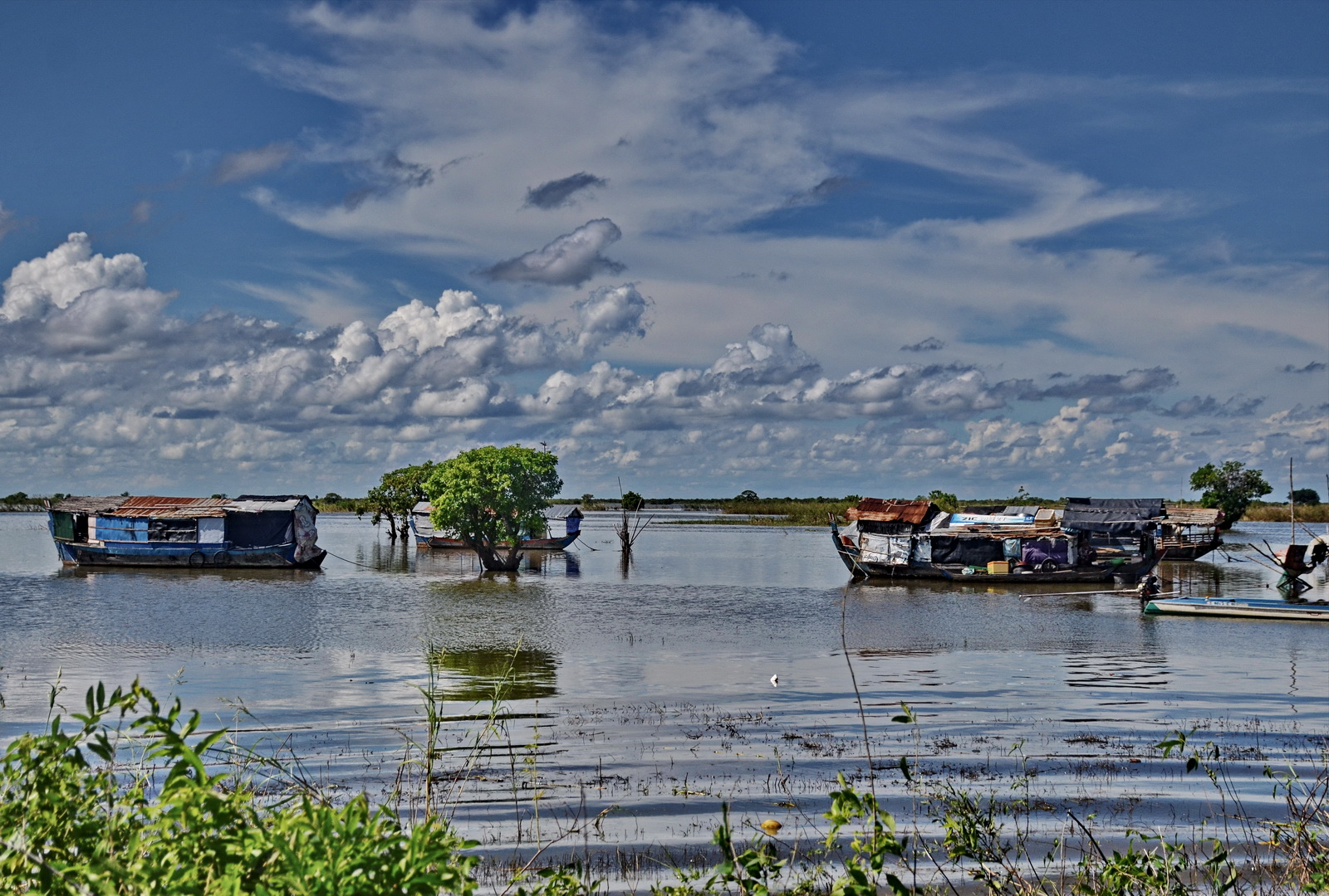 Houseboats on the The Sangkar River, Cambodia